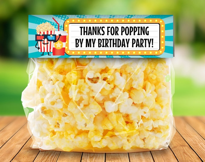 Movie Party Treat Bag Toppers, Favor Bag Toppers - Movie Birthday | Editable Text Bag Toppers - DIY Instant Download PDF Printable