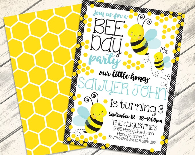 Bee Day Party Invitation - Our little Honey | Bee-Day Invitation | Bumble Bee Birthday | DIY Editable Text INSTANT DOWNLOAD Printable
