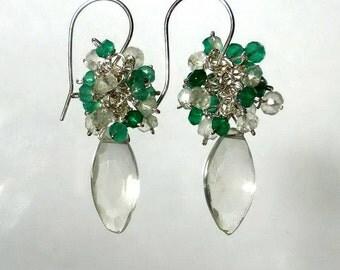 Green Amethyst Earrings Green Amethyst Cluster Earrings Prasiolite Earings Sterling Silver