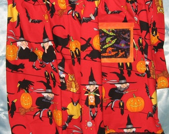 JKW Halloween Red CATs Crows Knitting WITCH Half APRON with Pocket and Black Lace Ruffle