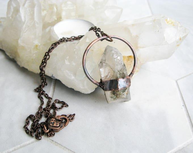 Electroformed Copper Necklace Dream Quartz Pendant Boho necklace Modern Jewelry Large Quartz Pendant Statement necklace OOAK