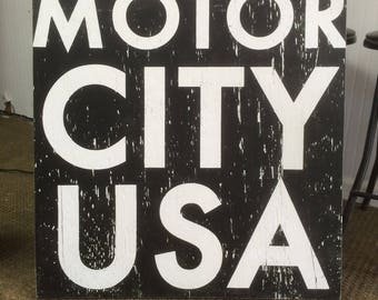 Detroit  Motor City USA wood sign approx 29 x 31