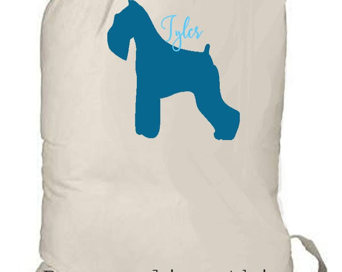 Laundry totebag, Personalized laundry bag, Monogrammed bag, beach tote, grad gift, summer camp bag, dog lover, schnauzer gift, boy backpack