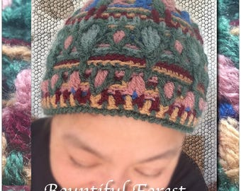 Bountiful Forest – colourful overlay crochet beanie, winter beanie, textured beanie, rich colours