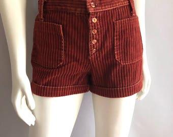 Vintage Women's 70's Rust, Corduroy Shorts, Cuffed (S)