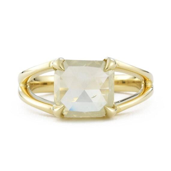 Yellow Rose Cut Diamond Ring 14K Gold Yellow Diamond