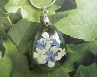 Snowball Bush Blossoms & Forget-Me-Nots Encased In Glass Pressed Flower Teardrop Pendant-Symbolizes True Love-Thoughts of  Heaven