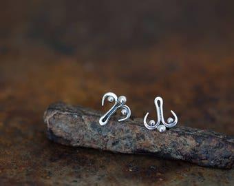 Unusual sterling silver stud earrings, abstract ornament earrings, Handcrafted artisan earrings, unique handcrafted stud earrings