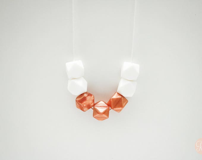 Thesan Silicone Beaded Sensory White and Copper Necklace.