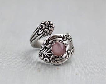 Rose Quartz Spoon Ring