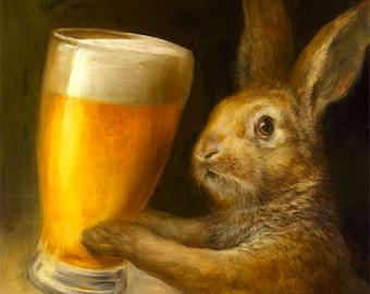 Bunny with Beer (print) bar decor rabbit brewery illustration artwork