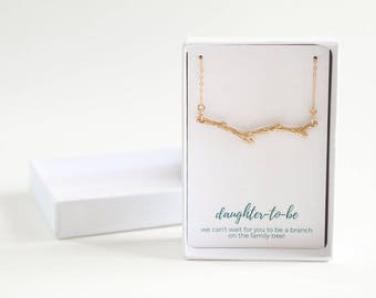 Daughter to Be Gold Necklace - Gold Tree Branch Charm - Twig Necklace - Simple Minimalist Necklace- Custom Daughter to Be Necklace
