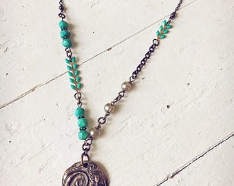 Mermaid pendant with pearls necklace // handmade bohemian boho beach style jewelry // under the sea // turquoise ocean blue chevron chain