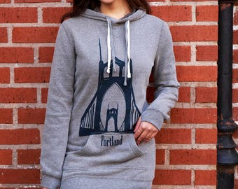 St. Johns bridge| Hooded Sweater dress| Soft| tunic| art by MATLEY| Gift for her| Portland, OR| winter dress| Travel tees| jumper| Hometown.