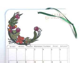 2018 Wall Calendar, 5.5x8.5 inches featuring 12 different illustrations in green, gold, purple, fuchsia, pink, orange, mustard and brown