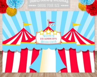 DIGITAL Big Top Circus Posters & Backdrops, Circus Poster, Carnival Backdrop, Customized w/ Your Wording, Printable JPEG File