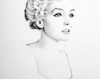Marilyn Monroe Minimalism Original Pencil Drawing Fine Art Portrait