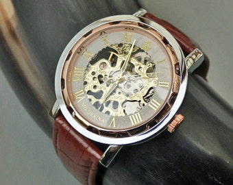Luxury Automatic Mechanical Wrist Watch, Brown Leather Wristband, Rose Gold Watch, Men's Watch, Women's Watch, Engravable - Item MWA-194cpa
