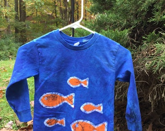 Kids Fish Shirt, Kids Ocean Creature Shirt, Blue Fish Shirt, Kids Ocean Shirt, Boys Fish Shirt, Girls Fish Shirt, Long Sleeve Shirt (4/5)