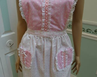 PINK WHITE DOTS, full Apron, two pockets ,embroided hearts trim ribbon ,white lace and wht.bias tape,all cotton fabric, neck and waist ties