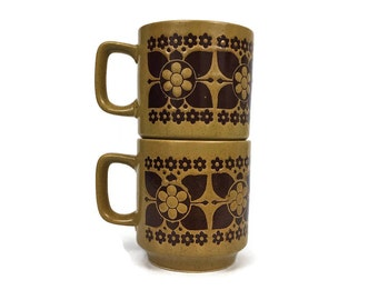 Vintage Pair of Mid Century Floral Coffee Mugs // Retro Kitchen Decor