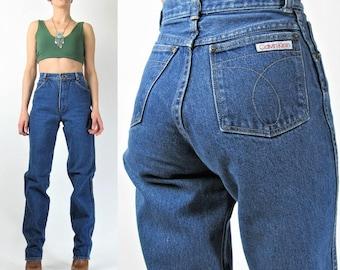 1980s Calvin Klein Jeans High Waisted Mom Jeans Medium Wash Denim Blue Jeans Vintage Womens Straight Leg Jeans Boyfriend Jeans (XS) E7007