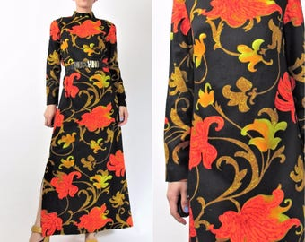 1960s Peacock Print Dress 60s Psychedelic Dress Angel Sleeve =Festival Hippie Boho Vintage 60s Bright Neon Maxi Dress (S) E8072