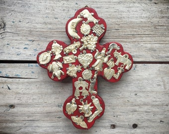 Vintage Mexican milagro cross, Mexican folk art amulets on wooden cross, lucky charms talisman, miracle milagro art, icons religious medals