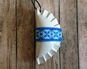 1 Pieróg/Pierogi Ukrainian style Christmas tree ornament - white with blue ribbon