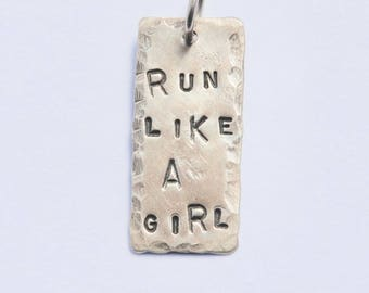 Sterling Silver Pendant // RUN LIKE A GIRL 1 inch // Soldered Ring