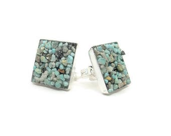 Crushed Turquoise Square Earrings Stud Silver Tone Earrings