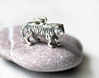 Sterling Silver Tiger Necklace, Wild Animal Necklace