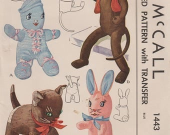 McCall 1443 / Vintage 40s Craft Sewing Pattern With Embroidery Transfer / Stuffed Toys / Sock Monkey Cat Kitty Bunny Rabbit Doll / Unused