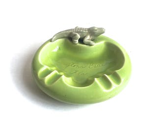 Vintage Ashtray Daytona Beach Florida Alligator Lime Green Mid Century Tobacciana Kitsch