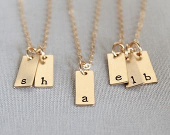 Vertical Initial Bar Necklace, Tiny Bar Necklace, Gold Tag, Mini Bar Necklace, Multiple Initials Necklace, Dainty Gold Filled