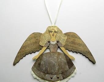 Angel Paper Doll, Angel Decoration, Christmas Angel, Angel Decor, Angel Ornament, Paper Art Doll, Jointed Paper Doll, Christmas Fairy Doll