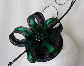 Black & Deep Emerald Bottle Green Pheasant Curl Feather Sinamay and Pearl Isabel Wedding Fascinator Mini Hat Ascot Derby - Made to Order
