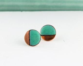 Copper & Enamel contrast block colour circular studs
