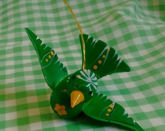 Green Wooden Bird Ornament Vintage Christmas Tree Decoration or Gift Topper