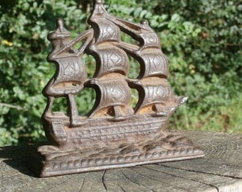 Rusty and Rustic Cast Iron Ship Book End, USS Constitution Sailing Frigate Ship, Vintage Metal Bookend, Nautical