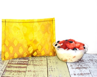 Reusable Snack Bag | Lunch Bag | Eco Friendly | Waste Free Lunch Bag | Zero Waste | Lunch Bag | Yellow Batik | Back to School