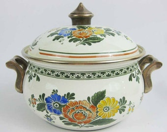 Vintage ASTA German Enameled Cookware Pot With Lid Floral Brass Handles Beautiful!!