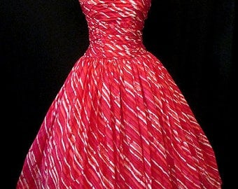 "Stunning 1950's Designer Silk Cocktail Dress by ""Fred Perlberg"" Chic Vintage Prom  Party Dress Size Medium"