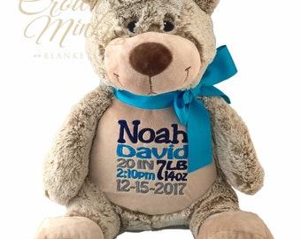 Personalized Bear Stuffed Animal, Birth Stat Keepsake, Personalized Stuffed Animal