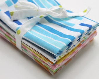 Vintage reclaimed Bed Sheet Fabric Fat Quarters - Mixed Stripes and Geometrics - set of 6