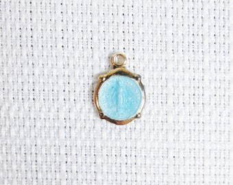 Vintage Gold Tone Miraculous Medal Charm with Blue Enamel