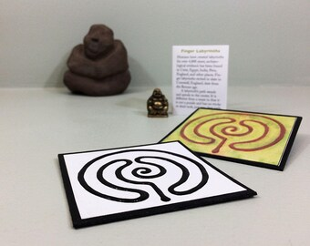 DIY finger labyrinth. Printable download to make a mini labyrinth with a raised path & a booklet to go with it. DIY gift. Mindfulness gift.