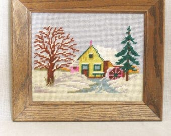 Vintage Winter Landscape Framed Needlepoint, Mill House, Cottage in the Woods, Trees, House, Building, Handmade, Embroidery, Hand Sewn, Art