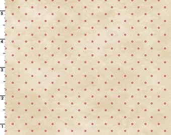 Small Rose Pink Dots on a Mottled Cream Background 100% Cotton Quilt Blender Fabric, Maywood Studio's Welcome Home Collection, MAS609-ER
