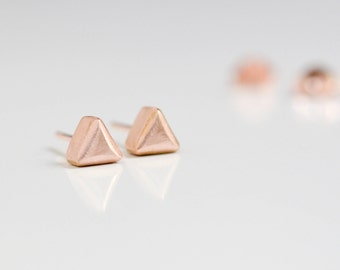 14K Rose Gold Triangle Stud Earrings - New Minimalist Solid Rose Gold Studs - Blush Pink Gold Earrings - Nickel Free Jewelry Hook And Matter